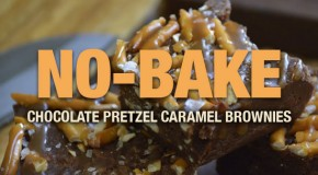No-Bake Chocolate Pretzel Caramel Brownies